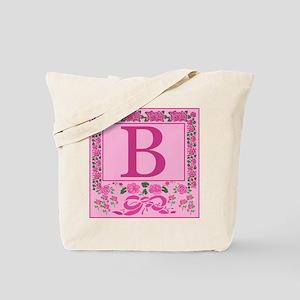 Letter B Pink Ribbons And Roses Monogram Tote Bag