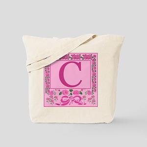 Letter C Pink Ribbons And Roses Monogram Tote Bag