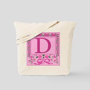 Letter D Pink Ribbons And Roses Monogram Tote Bag