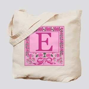 Letter E Pink Ribbons And Roses Monogram Tote Bag