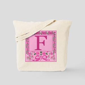 Letter F Pink Ribbons And Roses Monogram Tote Bag