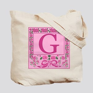 Letter G Pink Ribbons And Roses Monogram Tote Bag
