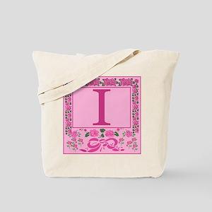 Letter I Pink Ribbons And Roses Monogram Tote Bag