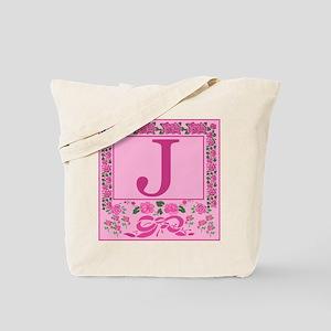 Letter J Pink Ribbons And Roses Monogram Tote Bag