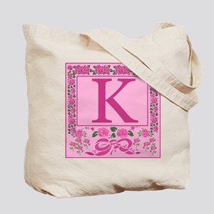 Letter K Pink Ribbons And Roses Monogram Tote Bag