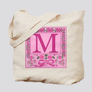 Letter M Pink Ribbons And Roses Monogram Tote Bag