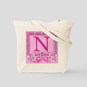 Letter N Pink Ribbons And Roses Monogram Tote Bag