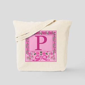 Letter P Pink Ribbons And Roses Monogram Tote Bag