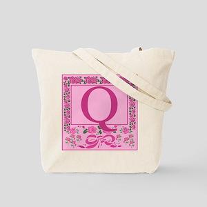 Letter Q Pink Ribbons And Roses Monogram Tote Bag