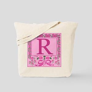 Letter R Pink Ribbons And Roses Monogram Tote Bag