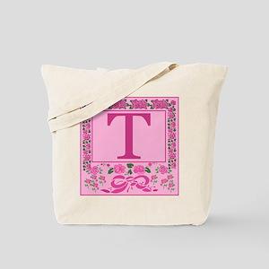 Initial T Pink Ribbons And Roses Monogram Tote Bag