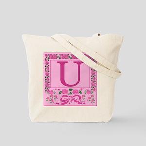 Initial U Pink Ribbons And Roses Monogram Tote Bag