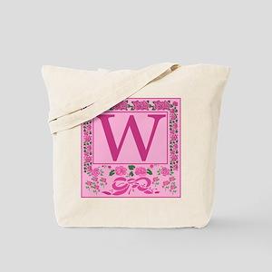 Initial W Pink Ribbons And Roses Monogram Tote Bag
