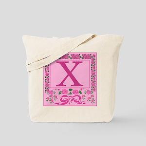 Initial X Pink Ribbons And Roses Monogram Tote Bag