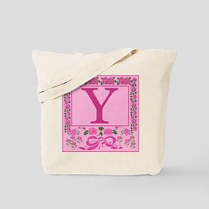 Initial Y Pink Ribbons And Roses Monogram Tote Bag
