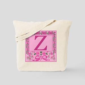 Initial Z Pink Ribbons And Roses Monogram Tote Bag