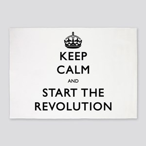 Keep Calm And Start The Revolution 5'x7'Area Rug