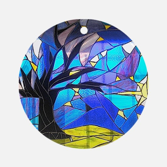 Brazil Stained Glass Panel Ornament (Round)