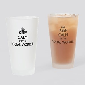 Keep calm I'm the Social Worker Drinking Glass