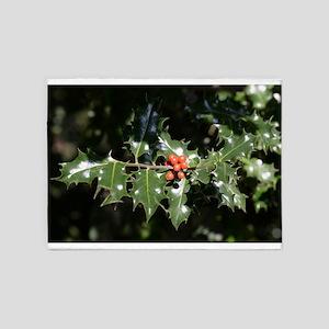 Christmas Holly Berries 5'x7'Area Rug