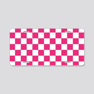 PINK AND WHITE Checkered Pattern Aluminum License