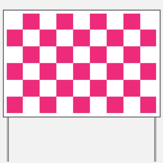 PINK AND WHITE Checkered Pattern Yard Sign