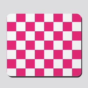PINK AND WHITE Checkered Pattern Mousepad