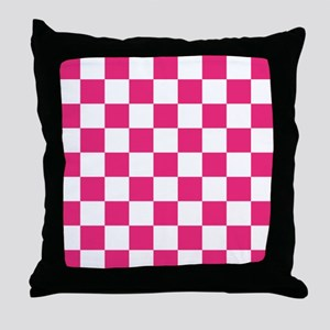 PINK AND WHITE Checkered Pattern Throw Pillow