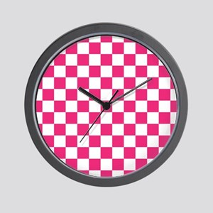PINK AND WHITE Checkered Pattern Wall Clock