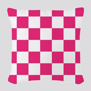 PINK AND WHITE Checkered Pattern Woven Throw Pillo