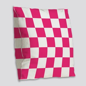 PINK AND WHITE Checkered Pattern Burlap Throw Pill