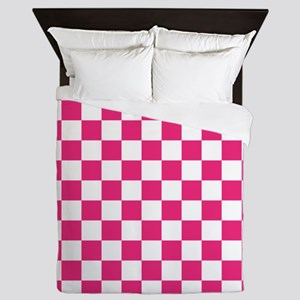 PINK AND WHITE Checkered Pattern Queen Duvet