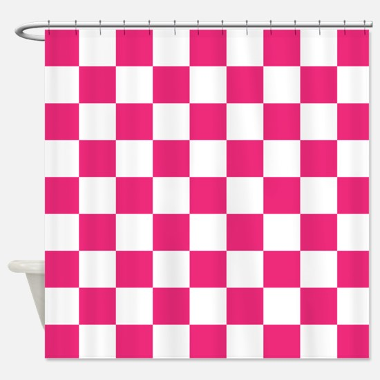 PINK AND WHITE Checkered Pattern Shower Curtain