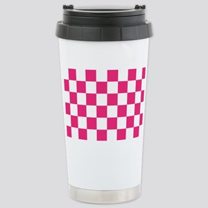 PINK AND WHITE Checkered Pattern Travel Mug