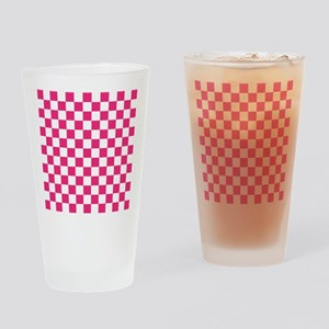 PINK AND WHITE Checkered Pattern Drinking Glass