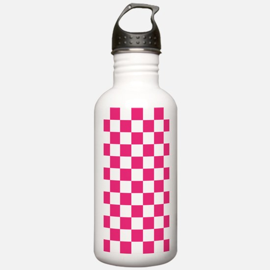 PINK AND WHITE Checkered Pattern Water Bottle