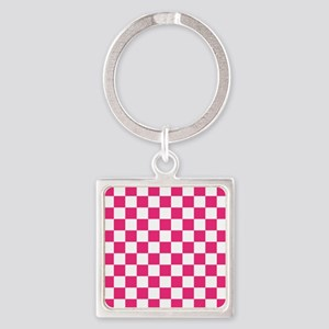 PINK AND WHITE Checkered Pattern Keychains