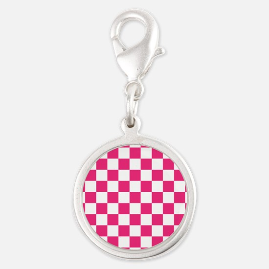 PINK AND WHITE Checkered Pattern Charms