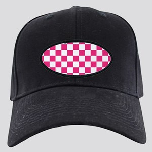 PINK AND WHITE Checkered Pattern Baseball Hat