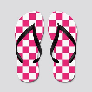 PINK AND WHITE Checkered Pattern Flip Flops