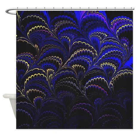 dark blue fan shower curtain by admin cp19732459. Black Bedroom Furniture Sets. Home Design Ideas