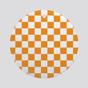 ORANGE AND WHITE Checkered Pattern Ornament (Round