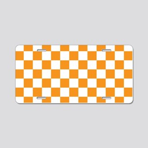 ORANGE AND WHITE Checkered Pattern Aluminum Licens