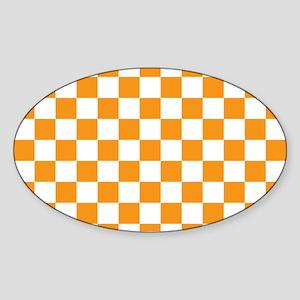 ORANGE AND WHITE Checkered Pattern Sticker