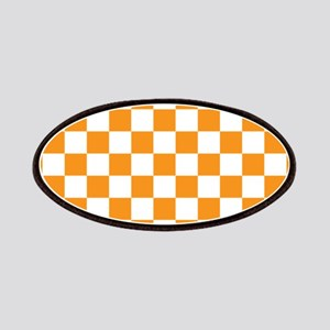 ORANGE AND WHITE Checkered Pattern Patches