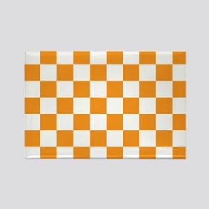 ORANGE AND WHITE Checkered Pattern Magnets