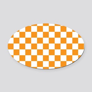 ORANGE AND WHITE Checkered Pattern Oval Car Magnet