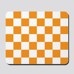 ORANGE AND WHITE Checkered Pattern Mousepad