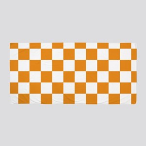 ORANGE AND WHITE Checkered Pattern Beach Towel