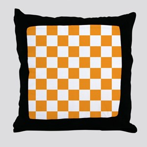 ORANGE AND WHITE Checkered Pattern Throw Pillow